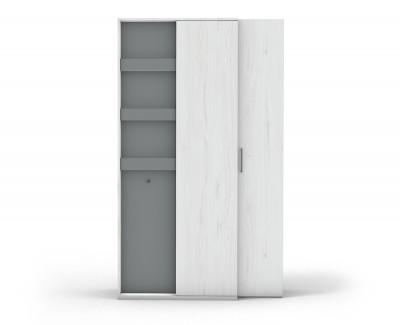 Armoire d'angle avec porte battante et colonne amovible avec 3 étagères et 1 patère