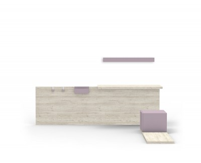 Bureau avec étagère, un caisson avec tiroir et une plate-forme
