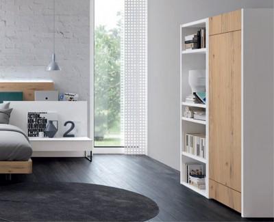 Bureau rabattable et meuble à étagères