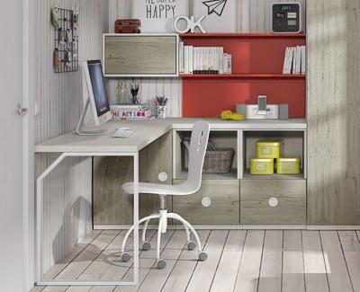 Bureau avec étagères et tiroirs
