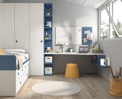 Bureau avec étagères, panneau blanc et panneau avec élastiques