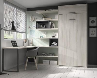 Chambre ado avec lit escamotable avec tiroir et bureau