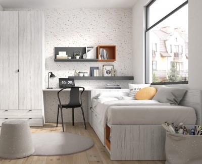 Chambre ado avec lit compact avec tiroirs, armoire, et bureau avec étagères