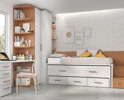 Chambre enfant avec lit gigogne avec escalier et 3 tiroirs, armoire d'angle, et bureau avec tiroirs