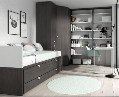 Chambre ado avec lit gigogne avec 2 tiroirs, armoire d'angle, et bureau avec etagère