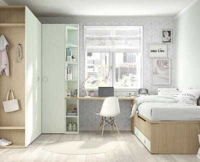 Chambre ado avec lit gigogne avec 2 tiroirs, armoire d'angle, armoire de finition, et bureau avec etagères