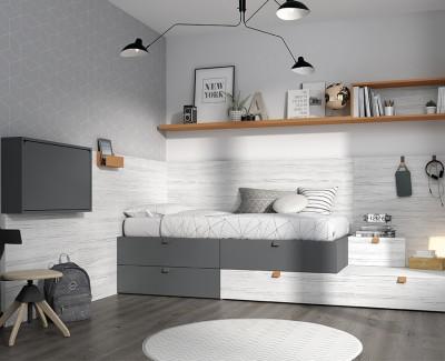 Chambre enfant avec lit compact avec 4 tiroirs, lit tiroir, bureau rabattable, et étagères
