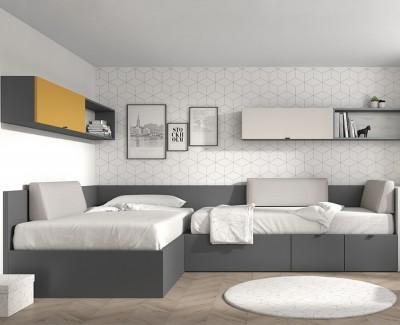 Chambre ado avec 2 lits compacts, coffre de rangement, tiroirs, bureau amovible et étagères