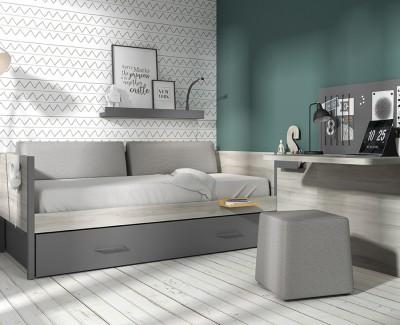 Chambre avec canapé-lit, bureau avec panneau magnétique, et étagère porte-revues