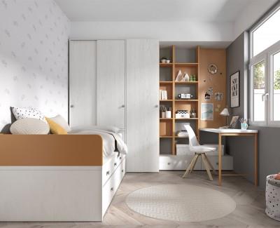Chambre ado avec lit gigogne avec 4 tiroirs, bureau avec étagères et 2 tiroirs, et 2 armoires
