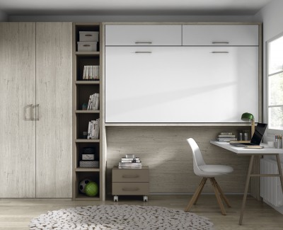 Chambre ado composée de lit escamotable haut, bureau, étagère et armoire