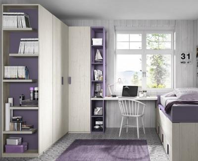 Chambre ado composée de lit compact, armoire d'angle, bureau et étagères
