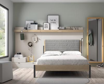 Chambre ado avec lit double, avec panneaux étagères, patères, et tiroirs de rangement