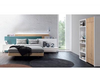 Chambre ado/adulte avec lit double, tête de lit, tables de chevet, bureau rabattable, et meuble à étagères.