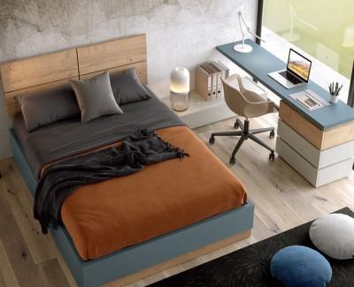 Chambre ado/adulte avec lit coffre avec tiroir à chaussures, et bureau avec 3 tiroirs