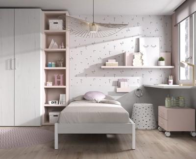 Chambre avec lit simple, bureau avec caisson à roulettes, armoire, et meuble à étagères