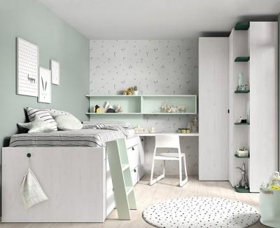 Chambre enfant avec lit gigogne et échelle, armoire d'angle, armoire de finition, et bureau