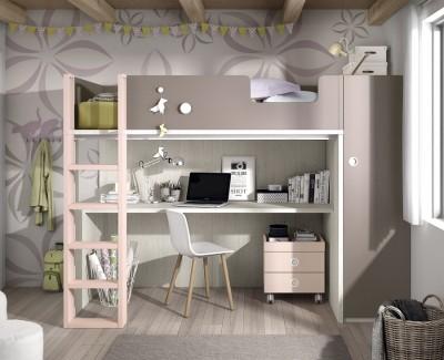 Chambre ado composée d'un lit superposé, armoire et bureau