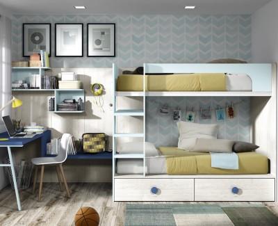Chambre enfant composée de lit superposé et bureau