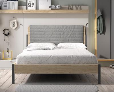Lit double avec tête de lit