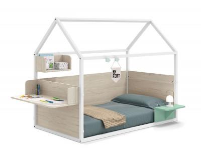Lit maison laqué fermé avec un bureau, table de nuit et cube de rangement