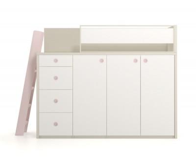 Lit mezzanine avec armoire et tiroirs