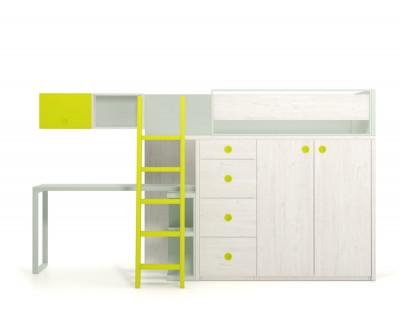 Lit mezzanine avec bureau et 4 tiroirs