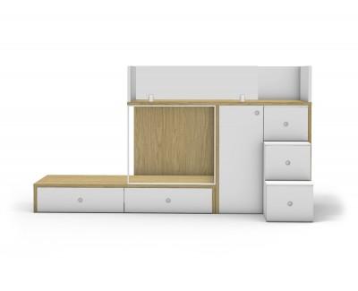 Lit superposé avec 2 tiroirs, armoire à 1 porte et escalier à 3 marches-tiroirs