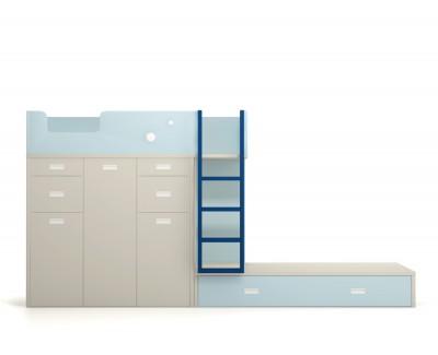 Lit superposé avec une armoire et deux bureaux amovibles