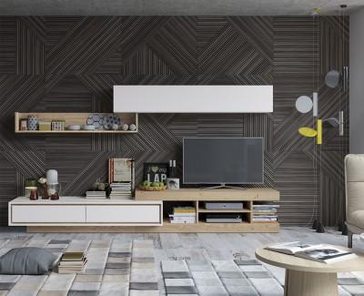 Meuble TV avec tiroirs et étagères