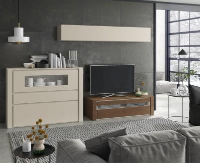 Meuble TV avec 2 tiroirs, meuble buffet avec vitrine et étagère
