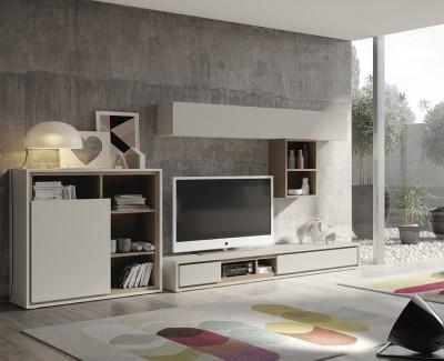 Meuble TV avec 2 tiroirs, meuble à étagéres avec porte battante, et étagères murales