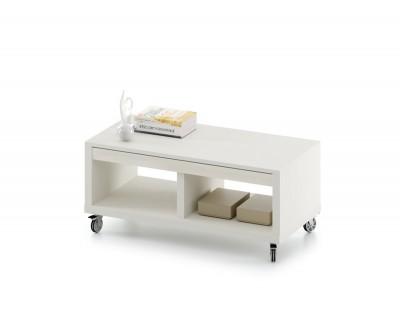 Table basse relevable avec tiroir et deux espaces de rangement