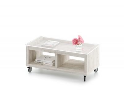 Table basse en verre fixe avec tiroir et deux espaces de rangement