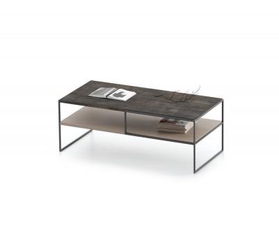 Table basse simple avec porte-revues et structure métallique