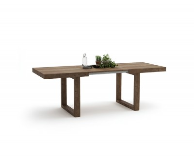 Table à manger avec 2 rallonges et deux pieds rectangulaires