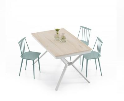"""Table à manger fixe avec pieds métalliques en """"X"""""""