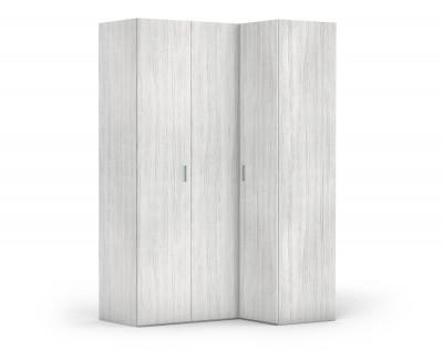 Armoire d'angle avec porte pliante et porte battante