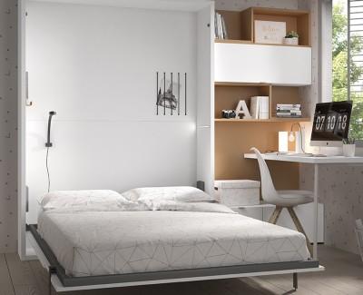 Chambre ado avec lit escamotable et bureau avec étagères et tiroirs