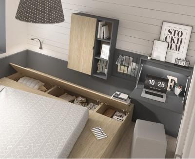 Chambre avec lit gigogne avec 1 tiroir, 3 coffres, des étagères, d'un bureau rabattable et un panneau avec élastiques