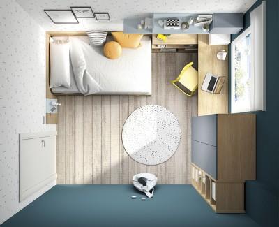 Chambre ado avec lit compact avec 4 tiroirs, bureau avec étagères, armoire et meuble à étagères