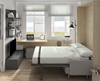 Chambre avec lit escamotable canapé