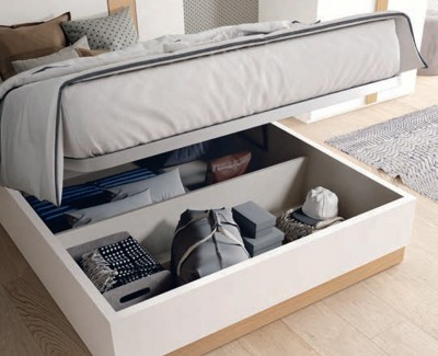 Chambre ado/adulte avec lit coffre, armoire à 2 portes battantes et bureau avec étagères