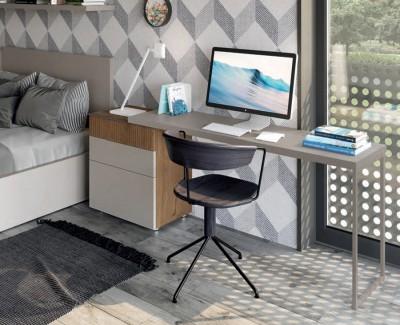 Chambre adulte avec lit coffre, bureau avec 3 tiroirs, et armoire d'angle avec meuble à étagères