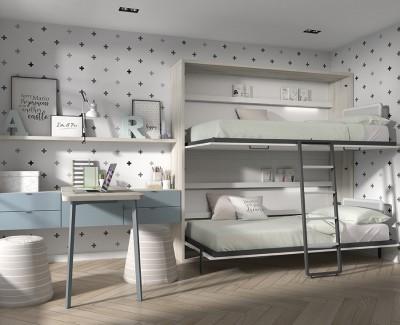Chambre enfant avec lit superposé escamotable et bureau avec étagères et tiroirs
