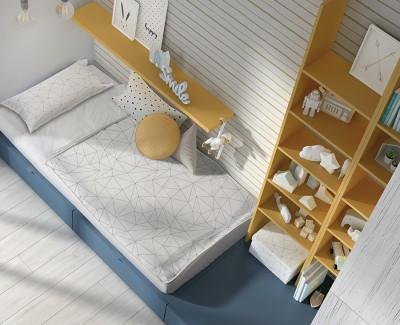 Chambre enfant avec lit compact avec 2 tiroirs, meuble à étagères, et armoire à 4 portes