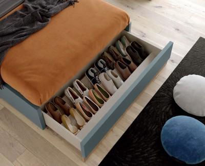 Lit ado/adulte avec tête de lit, coffre de rangement et tiroir à chaussures