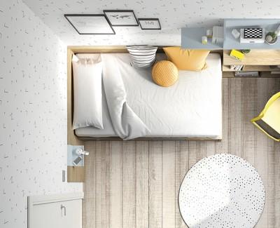 Lit compact avec 4 tiroirs et panneaux de finition