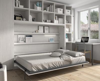 Lit escamotable horizontal avec étagères