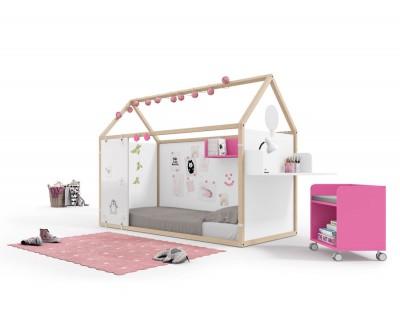 Lit maison en bois avec des panneaux magnétiques, panneaux velleda et bureau
